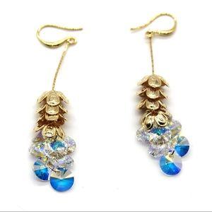 Gold layers flowers swarovski crystal earrings